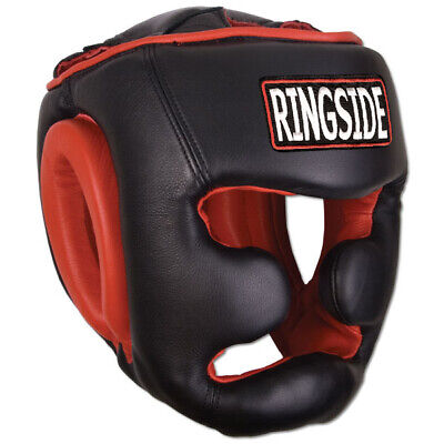 Red Ringside Deluxe Face Saver Boxing Headgear Black