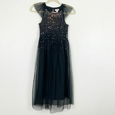 Cat & Jack Black Sequin Lace Tulle Maxi Dress Cap Sleeve Shimmering Girl M (7-8)