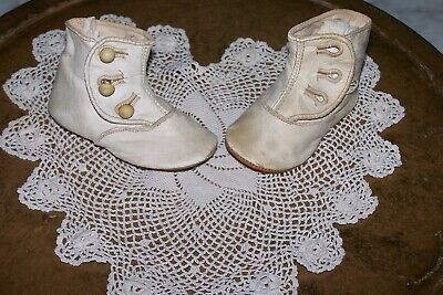 Antique Victorian Leather Button Baby Shoes Reborn