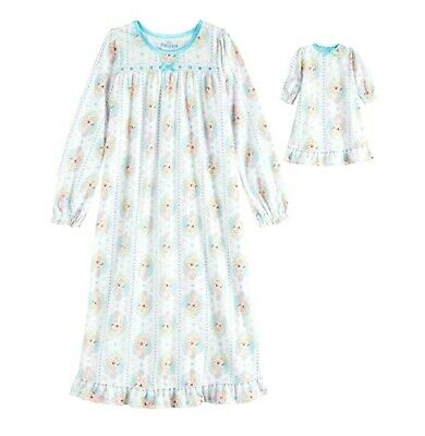 """Disney Frozen Little Girls Flannel Nightgown & 18"""" Doll Gown NWT Size  4  or 6"""