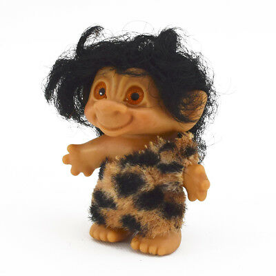 Vintage Caveman Troll Doll w/ Brown Hair Orange Spiral Eyes Leopard Print Outfit