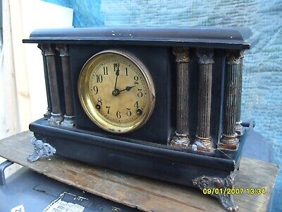 Mantel Clock  Sessions Usa  Clock Striking Bell And  On A Coil Original Pendulum