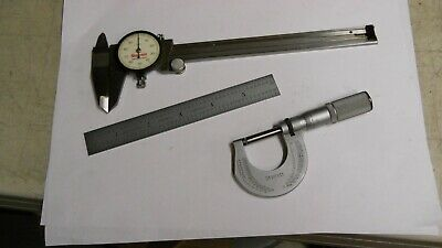 "Starrett Machinist Starter Set. Calipers, Micrometer, 6"" Rule.  used"