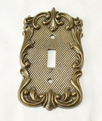 Vintage Ornate Scroll Metal Brass Light Switch Cover National Lock Co Home Decor
