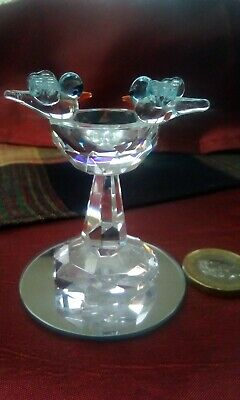 Crystal Glass Two Blue Birds on a Bird Bath Table Exquisite Collectable Glass