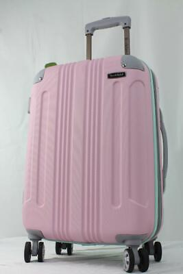 """Rockland London 21"""" Expandable Hardside Spinner Carry On Sitcase Pink Green"""