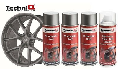 Alloy Wheel Paint Spray Kit  Graphite Grey Metallic x 3 + Clear Coat TechniQ