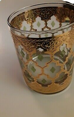 VTG. CULVER VALENCIA DOUBLE OLD FASHIONED GLASS MCM 24k GOLD W/GREEN  EXCELLENT