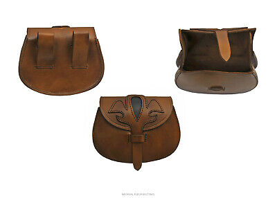 Medieval Bag Large Day-Pouch Heavy Duty Brown/Black Fleur Leather Reenactment