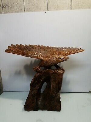 Antique FOLK ART Hand Carved Wood AMERICAN EAGLE with ARROW