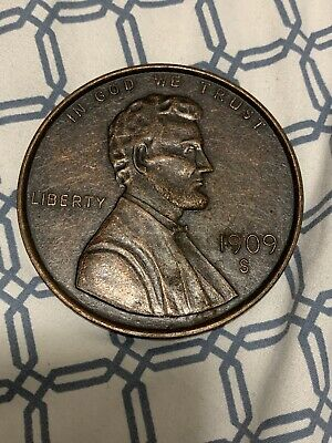 """1909 S Large Penny One Cent VDB Metal 3"""" Coin"""