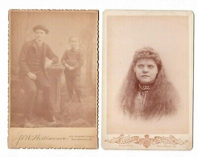 2 1880's Cabinet Portrait Photo Studio Cards from NEW BRIGHTON, PA Photographers