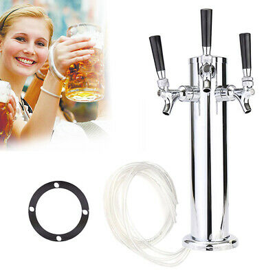 3 Triple Taps Stainless Steel Beer Tap Faucet Draft Beer Tower for Home Bar Brew