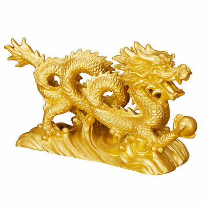6.3'' Gold Dragon Figurine Chinese Geomancy Ornaments for Luck & Success
