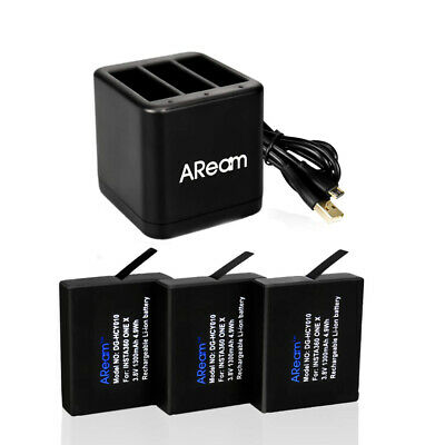 Aream 3-Pack Insta360 One X Camera 1300mAh Replacement Batteries and...