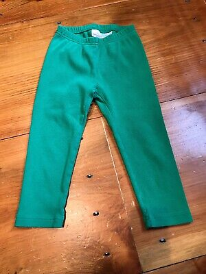 HANNA ANDERSSON 130 US 8 yr Green Ribbed Cropped Leggings Cotton Stretch