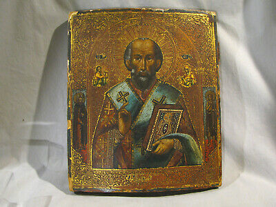 Antique HAND PAINTED RUSSIAN ICON ON WOOD