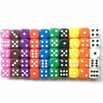 10pcs 16mm Six Sided Spot D6 Playing Game Dice Set Opaque Dice Board Game