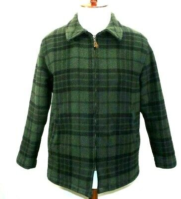 VTG LL BEAN Mens MEDIUM/M Lined WOOL Plaid Zip-Up GREEN/BLACK CRUISER Jacket USA