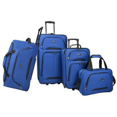 U.S. Traveler Luggage Set Softside Blue Retractable Handle Polyester (4-Piece)
