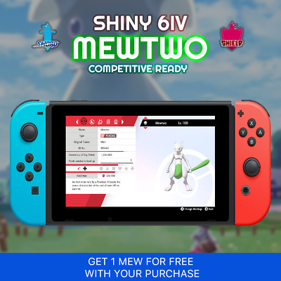 Shiny Mewtwo Competitive Ready | Free Mew with Purchase | Pokemon Sword & Shield