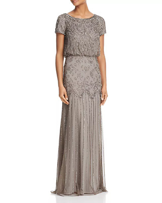 Adrianna Papell Beaded Short-Sleeve Gown $199 Size 4 # 14A 622 Blm