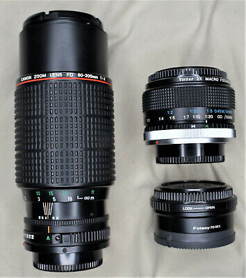 Canon FD 80-200mm f/4 L Zoom MF Lens for Canon Sony NEX + EXTRAS