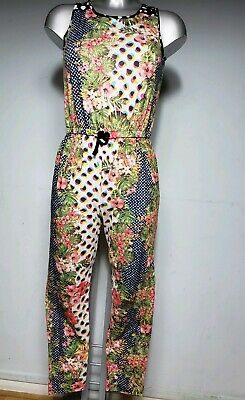 River Island Girls Kids Pink Blue Floral Jumpsuit Playsuit Dress Age 11-12 Years