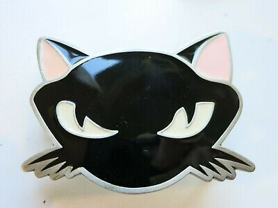 Cat Head Belt Buckle Rockabilly PinUp Punk Pewter Black Pink Kitty