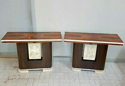 A Pair Of Italian Art Deco Consolle In Walnut , Rosewood And Parchemin From 1940