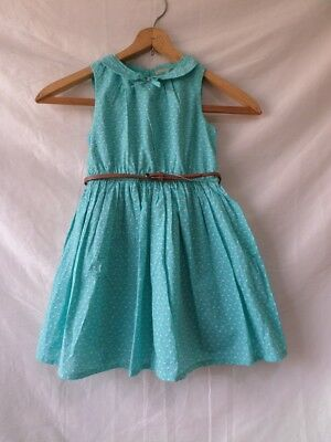 Next Girls Light Blue Polka Dot Skater Dress with Belt Size 5 Years