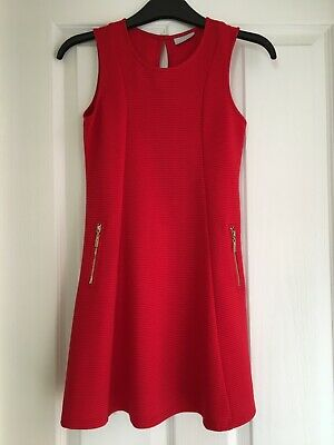girls red dress with gold zips size 10 years