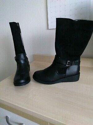 BNWT Marks & Spencer Girls Long  Black Faux Leather/Suede  Boots Size 6