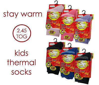 New Red Tag Childrens Striped 2.45 Tog Thermal Sock Boys Girls Warm School Socks