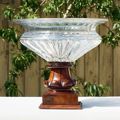 LARGE Antique 19th Century French Cut Glass Compote Centrepiece on Wooden Base