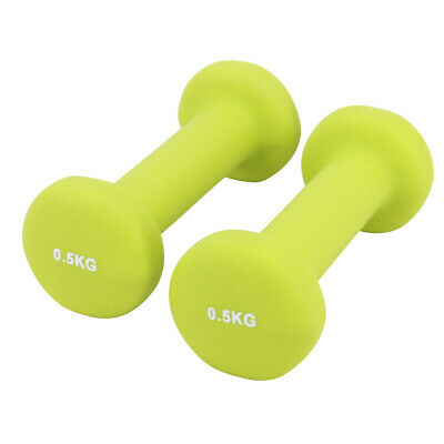 Neoprene Hex Dumbbells Cast Iron Weights Gym Aerobic Exercise Ladies Yellow 1kg