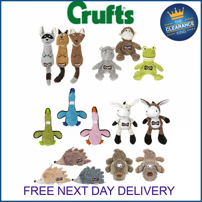 Crufts Pet Puppy Dog Corduroy Squeaky Training Play Toys