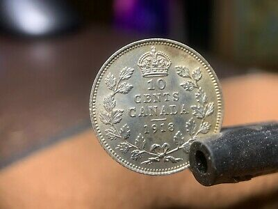 1918 Canada 10 Ten Cents Silver Coin Uncirculated Canadian Currency