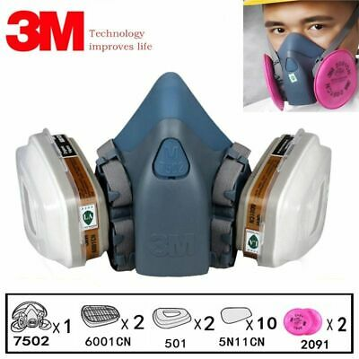 3M 7502 Painting Spraying Gas Mask Chemcial Safety Work Gas Mask Proof Dust