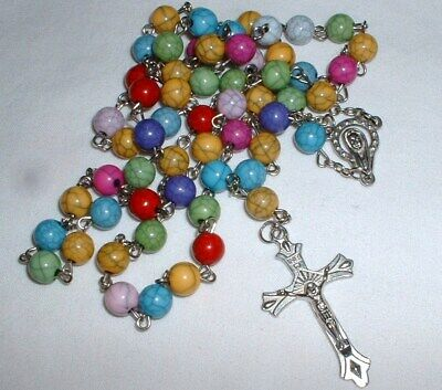 Beautiful Vintage Catholic Rosary Crucifix - Italy Coloured Glass Beads -NO RES