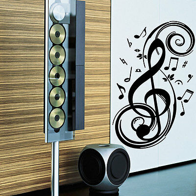Clef Music Notes Vinyl Wall Sticker Decal Art Bedroom Wardrobe Decoration
