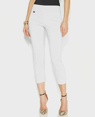 $150 Alfani Women's White Stretch Pull-On Skinny-Leg Cropped Casual Pants Size 6