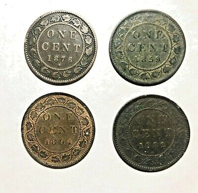 Lot of 4 Canada Copper Large Cent - 1876, 1882, 1891 and 1859