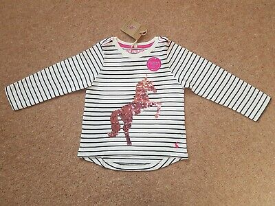 Joules Girls Sequin Horse Tshirt BNWT Age 3