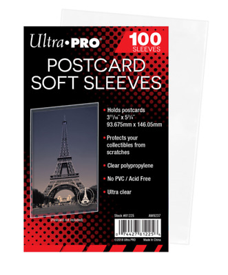 *10* loose Ultra Pro Postcard Soft Sleeves 3 11/16 x 5 3/4 Archival Safe