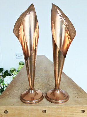 Pair of Arts & Crafts Beaten Copper Tall Elegant Pedestal Trumpet Vases 12.5""