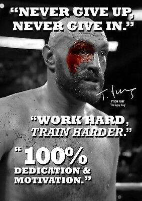 Tyson Fury inspirational quote poster print Anything is possible pre signed