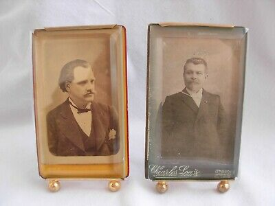 PAIR OF ANTIQUE FRENCH GILT BRASS BEVELED GLASS PHOTO FRAME,LATE 19th CENTURY.