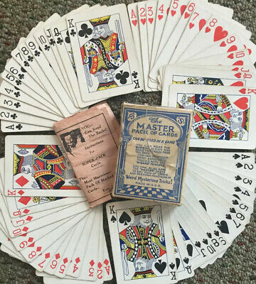 Rare 1924 Sherms Master Pack Deck of 52 Marked Magic Cards w/ OG Instructions