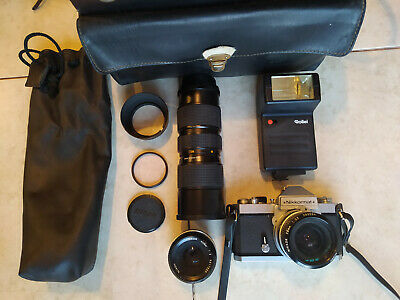 Vintage Nikon Nikkormat 35mm Camera w/28mm 3.5 & 50mm 1:2 two Nikkor lens & more